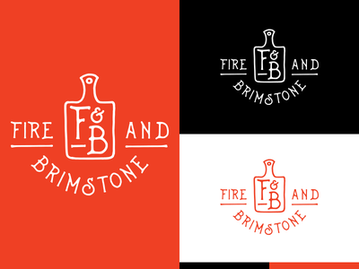 Fire And Brimstone Logo Option 1 brimstone fire fb restaurant cooking hand drawn logo