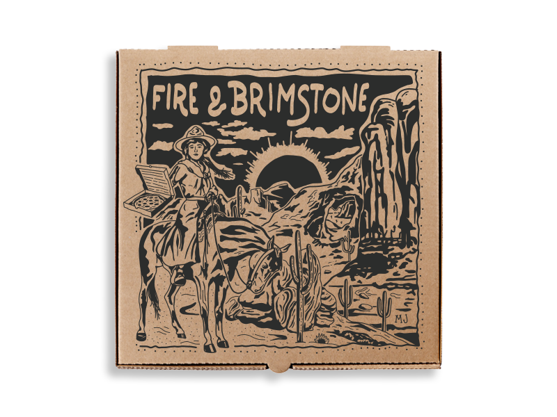 Fire & Brimstone Pizza Box illustration woodblock western packaging box pizza box pizza
