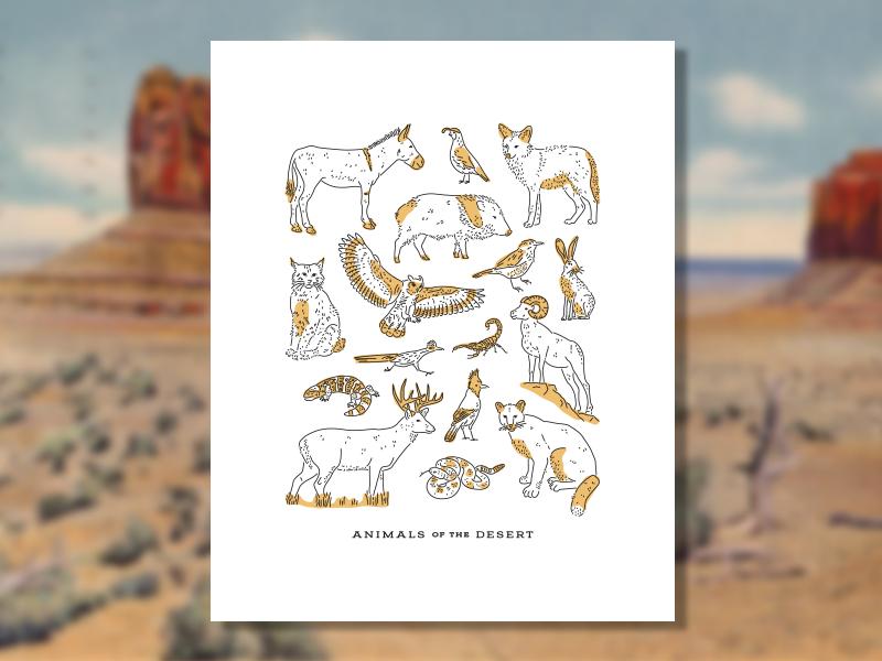 Desert Animals by Mark Johnston on Dribbble