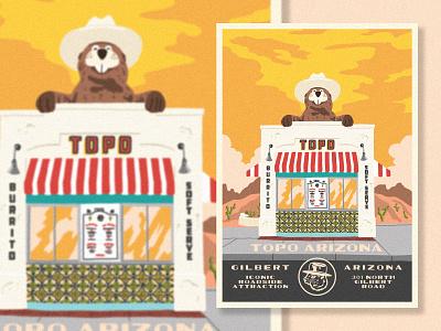 Topo national parks illustration restaurant design restaurant gopher ice cream burritos topo