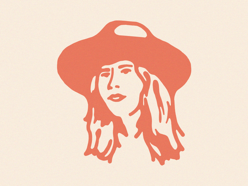 Lauren Portrait portrait design single color desert cowgirl hat headshot illustration portrait lauren