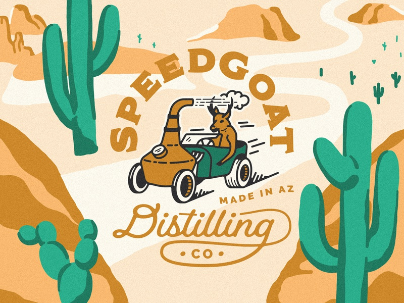 SpeedGoat distillery desert driving cactus car pronghorn desert packagingdesign gin liquor bottle liquor packaging gin distilling gin bottling bottling vodka distilling vodka distilling speedgoat