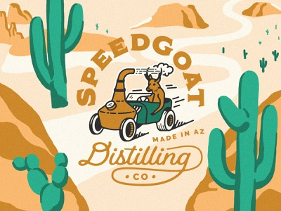 SpeedGoat distillery desert driving cactus car pronghorn desert packagingdesign gin liquor bottle liquor packaging gin distilling gin bottling bottling vodka distilling vodka distilling speedgoat