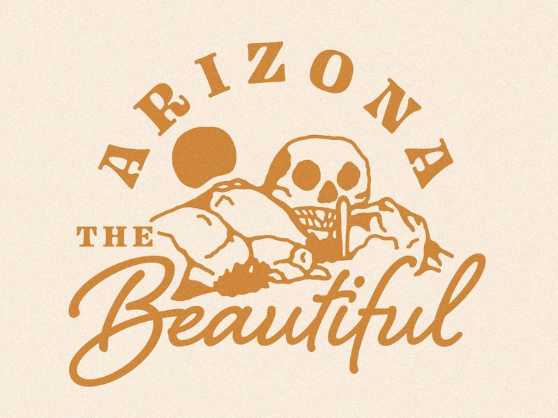 Arizona the Beautiful cactus skull rock skull southwest desert lockup illustration arizona the beautiful beautiful arizona