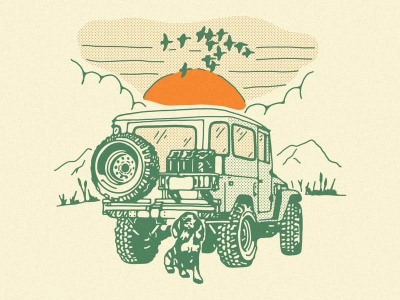 Johnston Arms shirt design 4x4 offroad hiking camping hunting outdoor landscape illustration desert duck dog land rover johnston arms