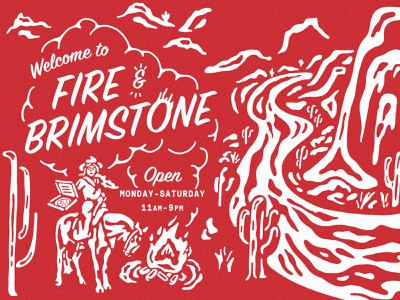 Fire & Brimstone one color horse cactus fire fire and brimstone cowgirl illustration desert illustration illustration pizza restaurant design restuarant graphics