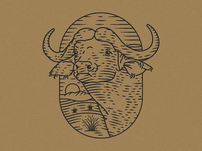 Cape Buffalo illustration animal art lineart animal illustration animal buffalo south africa cape buffalo