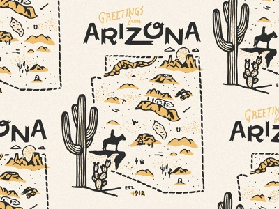 Arizona Map icons arizona map map illustration desert map desert cactus map arizona
