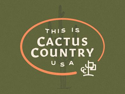 Cactus Country illustration flag arizona desert cactus lockup cactus country