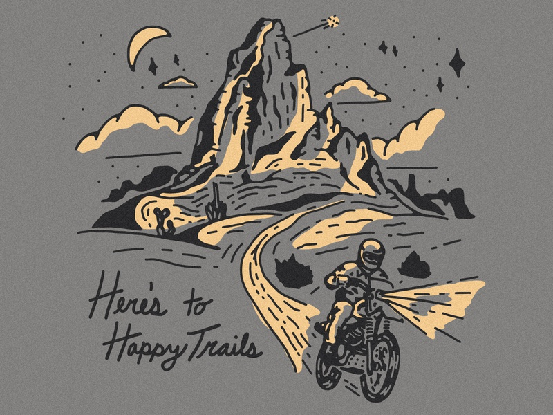 Happy Trails stars moon outdoors trails night desert scrambler illustration dirt bike motorcycle happy trails