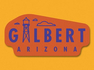 Gilbert, AZ city die cut sticker weekly warm up city sticker az water tower arizona gilbert