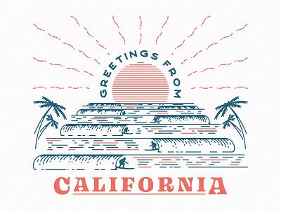 Greetings From California sunset palm trees cali beach ocean waves mahalo surfer california letterpressed postcard postcard letterpress