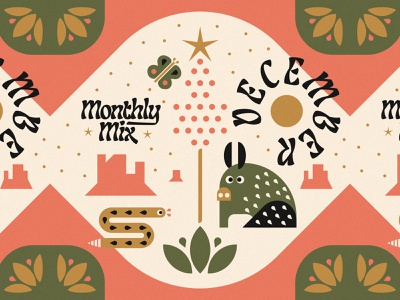 Monthly Mix: December album artwork rattlesnake snake butterfly javelina holiday design holiday christmas illustration desert illustration playlist album art music monthly mix