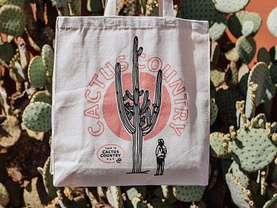 Cactus Country Tote arizona cactus sunset desert illustration saguaro cactus counrtry tote