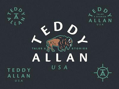 Teddy Allan Exploration logo design myths legends tales adventure usa buffalo illustration branding and identity branding design adventure logo buffalo logo logo branding brand