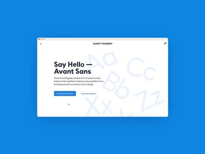Avant Sans — variable typeface landing page