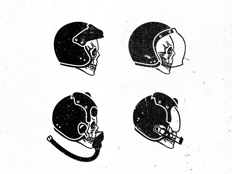 Untitled Personal Project | Speed Skulls military illustration skulls helmet racing motorcycle pilot fighter helicopter distress grunge