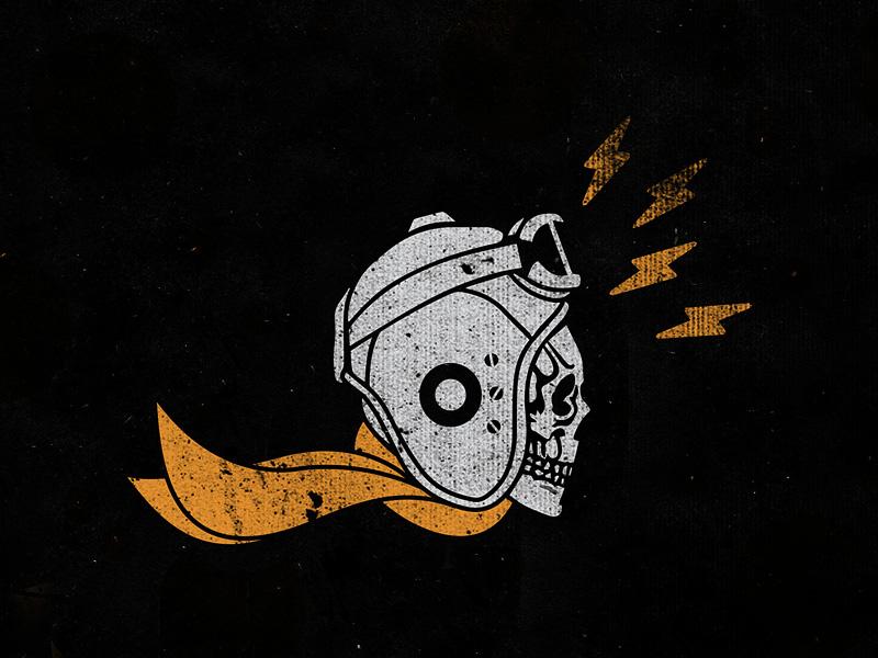 Speedskull   Personal Project skull flight flying pilot helmet goggles illustration grunge distress