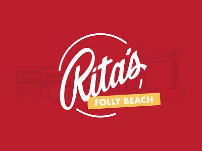 Rita's Seaside Grille – Rebrand Logo beach illustration mark logo ritas charleston folly beach