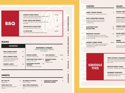 Rita's Seaside Grille – Rebrand Menu Design
