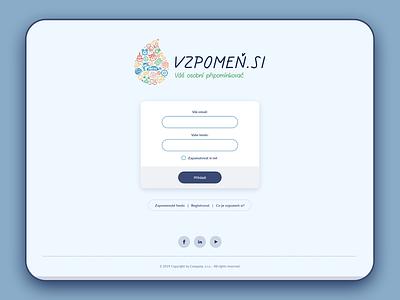 Login page - Vzpomen.si vector adobe illustrator adobe xd logo window gui uiux ui form website login