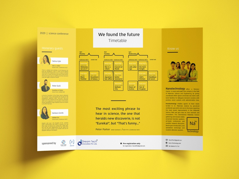 Nano Technology Science conference brochure science print design branding brochure