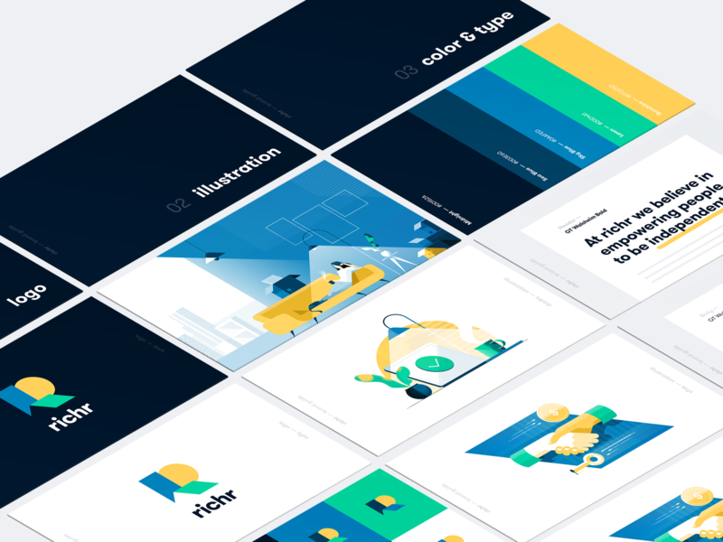 Richr - Brand Guide brand guidelines bright colors real estate identity branding brand