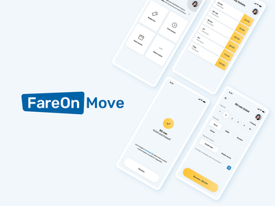 FareOn Move mobile app logo branding shadows light mobile app mobile ui product design ui