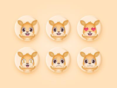 A set of Emoji lovely kangaroo brand mascot emoji illustration design