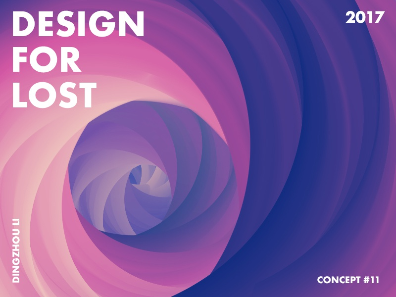 Design For Lost whirl abstract art typo color