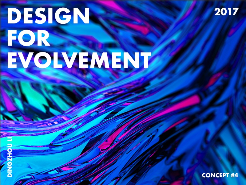 Design For Evolvement fluid blue gradient abstract art typo color