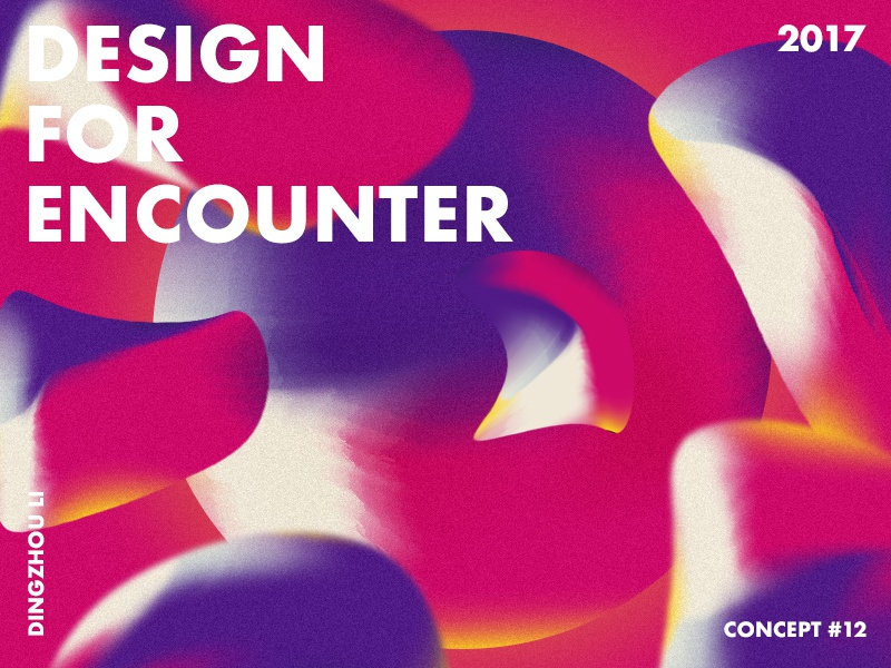 Design For Encounter wallpaper blue red gradient abstract art typo color