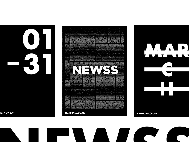 NewsS - Promotion poster clean typography type bw white black website web news