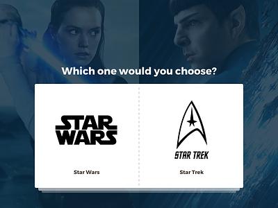 Star Wars vs. Star Trek - Landing page proposal card art page case study webdesign website cinema movie ui layout behance logo redesign design web card landing page fiction blue star trek star wars