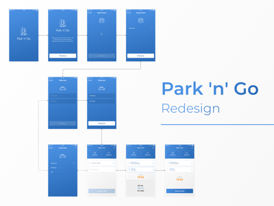 Park 'n' Go Redesign case study minimal design mobile clean ux ui nextap iphone behance redesign app design app
