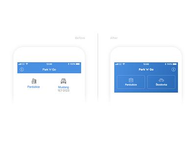 Park 'n' Go Redesign ux mobile app design mobile design iphone application clean before and after redesign blue mobile application mobile app app minimal ui design