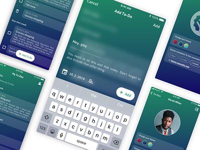 ToDo App Color Theme | Green todo blue green mobile mobile app design mobile app app minimal ux ui nextap clean design