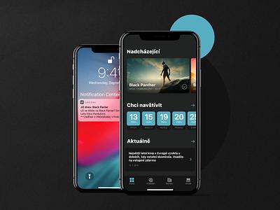 Open Air Cinema App - UI Design dark case study dailyui app ux behance ui nextap clean design