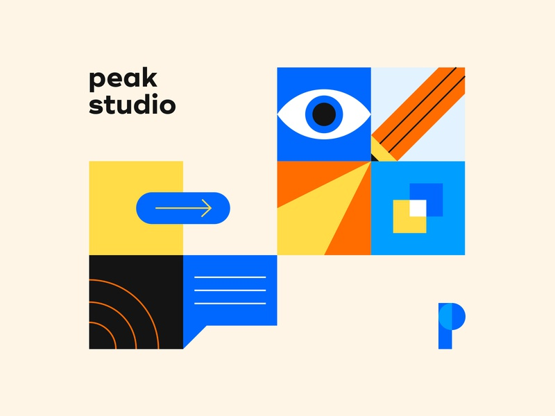 Peak studio design orange blue logo illustration illustrations branding