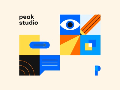 Peak studio design orange blue logo illustration illustrations branding