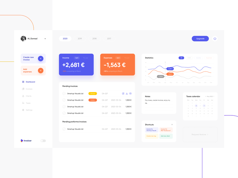 Invoice builder dashboard interface user login sidebar statistics tracking elements graphic design investor ux  ui ux design ui design startup branding startup dashboard dashboard design web design uiux ux ui
