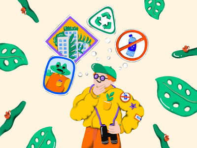 Recycling nature expert protector ranger trash binoculars no plastic natural leaves grow character design character procreate handdrawn illustration nature logo green upcycle sustainable recycle nature nature illustration