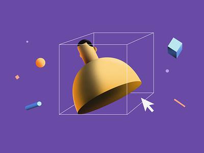 Adding user minimal digitalart form abstract shadow procreate cube cursor 2d illustration 3d art illustration