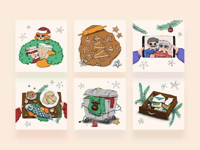 Sustainable Christmas illustrations for social media design hand drawn gift presents food christmas card christmas recycle graphic design sustainable illustration illustrator