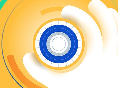 Ilustration for technology lines illustrator yellow hand technology tech geometric minimal vector illustration