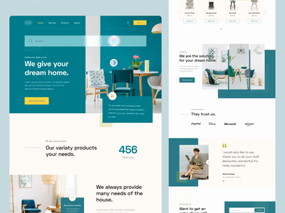 Camelia Landing Page interaction design userinterface uiuxdesign uiux uxdesign uidesign web landingpage website webdesign ux ui clean branding app furniture interior