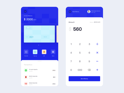 Daily UI 004 - Digital Wallet digital calculator mobile app balance transaction payment dailyui typography clean send money wallet digital wallet app design ux ui
