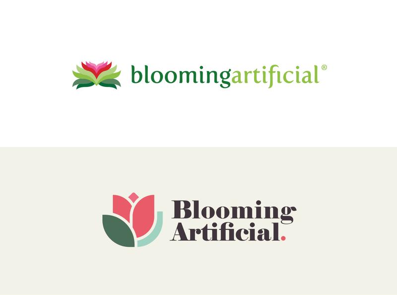 Blooming Artificial - Brand Evolution nature branding flower logo leaf flower tulip ecommerce shapes simple minimalist logo design