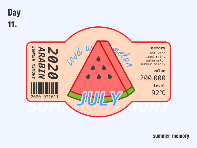 watermelon sketch july watermelon summer ui logo fruits paster branding tag design 不错实验室 illustration design 100days