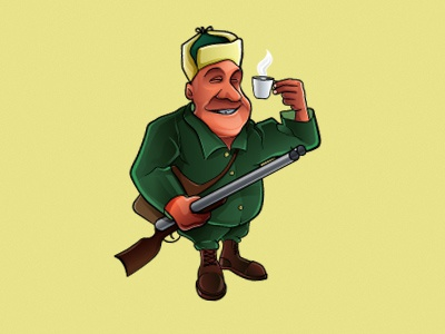 Hunter Bar mascot coffee logo bar hunter